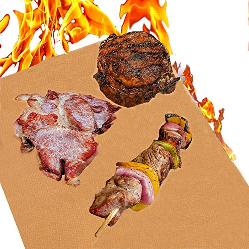 Review Of LCHUANG Copper Grill Mat – Grill Mat BBQ Baking Mat, Reusable 100% Non-Stick BBQ Grill Mat, Easy to Clean- PTFE Teflon Fiber Grill Roast Sheets for Gas, Charcoal, Electric Grill (Copper-Set of 2)