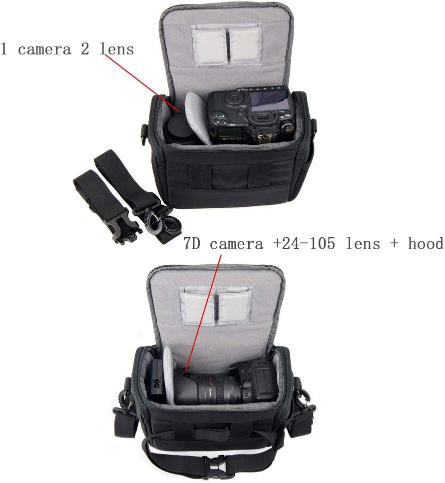 Flash or Other Accessories Travel Outdoor Camera Bags with Rain Cover for DSLR Mirrorless Camera Slivy Shoulder Messenger Bag Camera Case