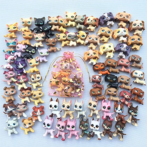 Toy Rare Lot 5 Random LPS Cat Dog LPS Great Dane LPS Shorthair Cat LPS Collie LPS Cocker Spaniel LPS Dachshund Puppy with Accessories Lot 5 Random Collar Food Drink Bone Toy Figure Surprise -