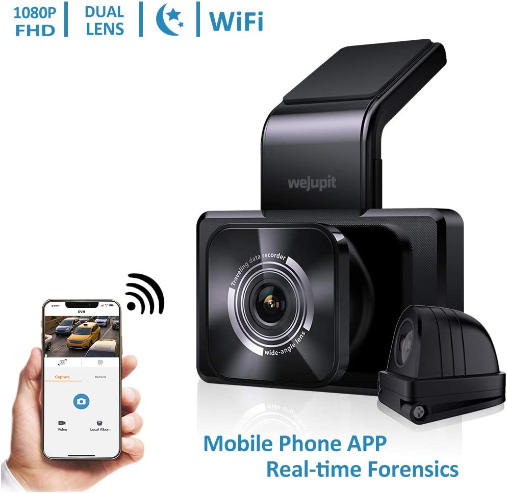 WeJupit Dual Dash Cam Front and Rear Lens with WiFi, HD 1080P Front and 720P Rear Car Camera with Night Vision, Loop, G-Sensor, WDR, 170 Degrees Wide-Angle, Motion Detection