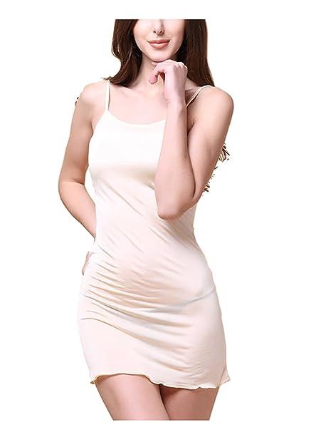 Oudan Camisa de Vestir de Satén Corto de Pijama para Mujer Vestido de Noche de Seda Vestido de Verano sin Tirantes Despojado de Tiras Finas: Amazon.es: Ropa ...