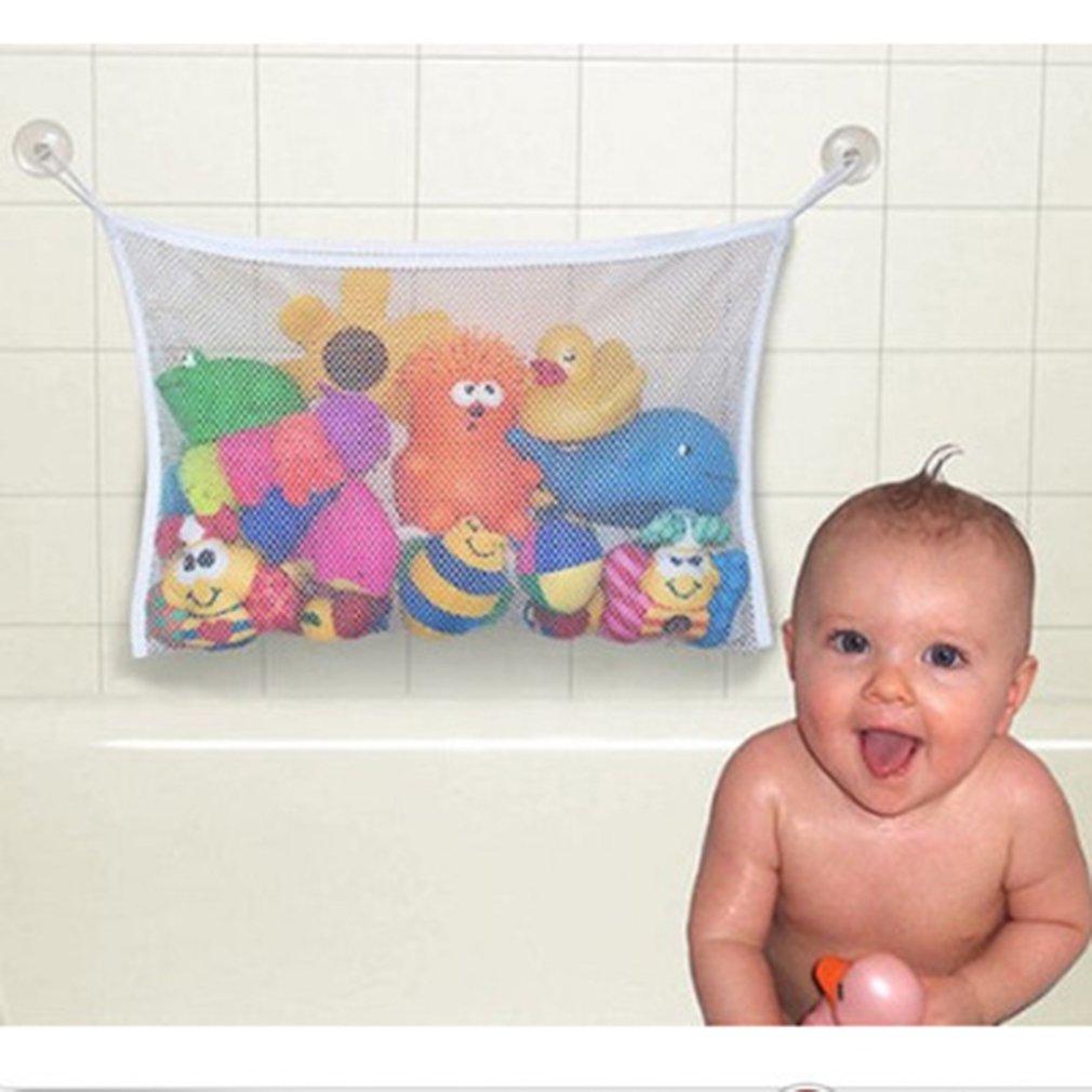45 * 35 cm Nützliche Durable Baby Kinder Kinder Badespielzeug Beutel Aufbewahrungsbehälter Net Netztasche Starke Sucker, weiß FairytaleMM