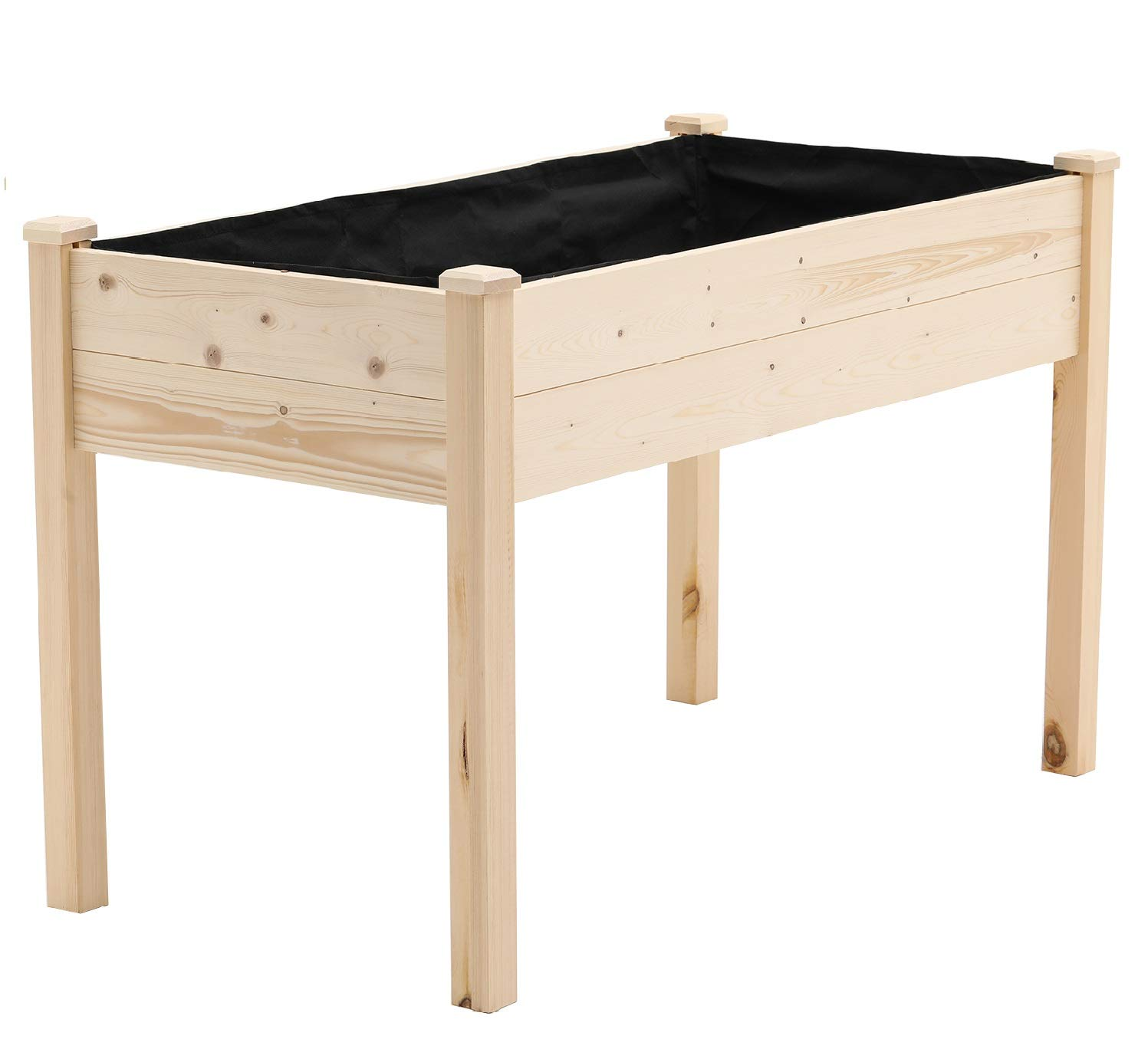 SOLAURA Outdoor 4 ft Wooden Raised Garden Bed Elevated Planter Box Kit Grow Vegetable Flower Herb Gardening, Naturally