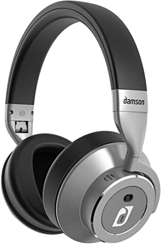 Damson HeadSpace – Wireless Bluetooth Noise Cancelling Over the Ears Headphones – Includes Micro-USB Charging Cable, 3.5mm Auxiliary Cable, and Case