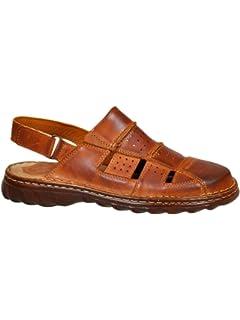 df2b7c0ae77 Lukpol Mens Comfy Orthopedic Natural Buffalo Leather Sandals Shoes Model-838