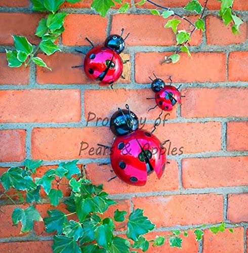 4 Giant Garden Ladybird Fence Wall Tree Mounted METAL Ornament Decorations