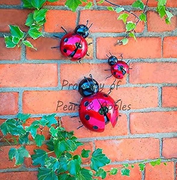 Adorno metálico para pared de jardín, decoración de jardín, para colgar, diseños de mariquita y abeja, 3 unidades, Ladybugs: Amazon.es: Jardín