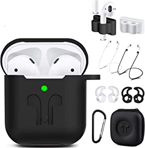 AirPods Case Compatible Apple AirPods 2&1,9 in 1 AirPods Accessories Set Protective Cover and Silicone Skin with Earpods Keychain/Strap/Ear Hook/Carrying Box-Black