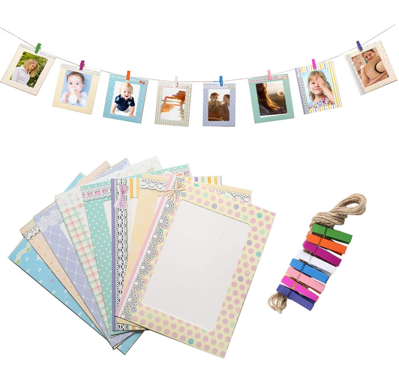 8pcs Hanging Paper Photo Frames Wall Decoration DIY with Clips and Ropes for 4x6in Pictures