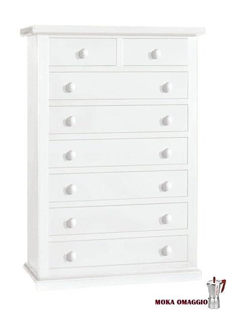 CLASSICO cassettiera Shabby Chic bianca 7 cassetti per camera da ...