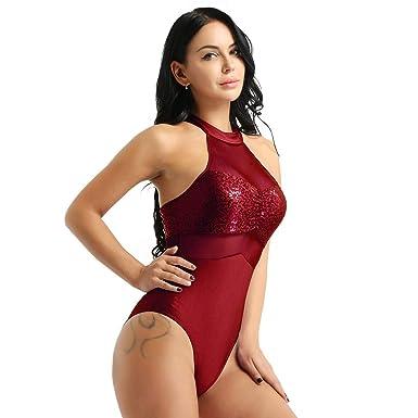 IEFIEL Femmes Halter Body Sequins sans Manches Sequins Justaucorps De Gymnastique  Bodysuit Body De Ballet Yoga 20796b8a5ec