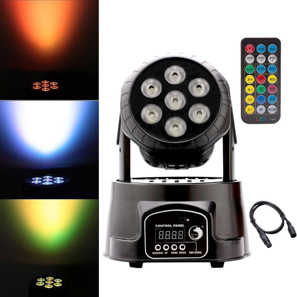 U'King Moving Head Stage Effect Light 7x10W 4 Color RGBW LED 5 control mode DJ KTV disco banquet hall (Black with Remote) UKing