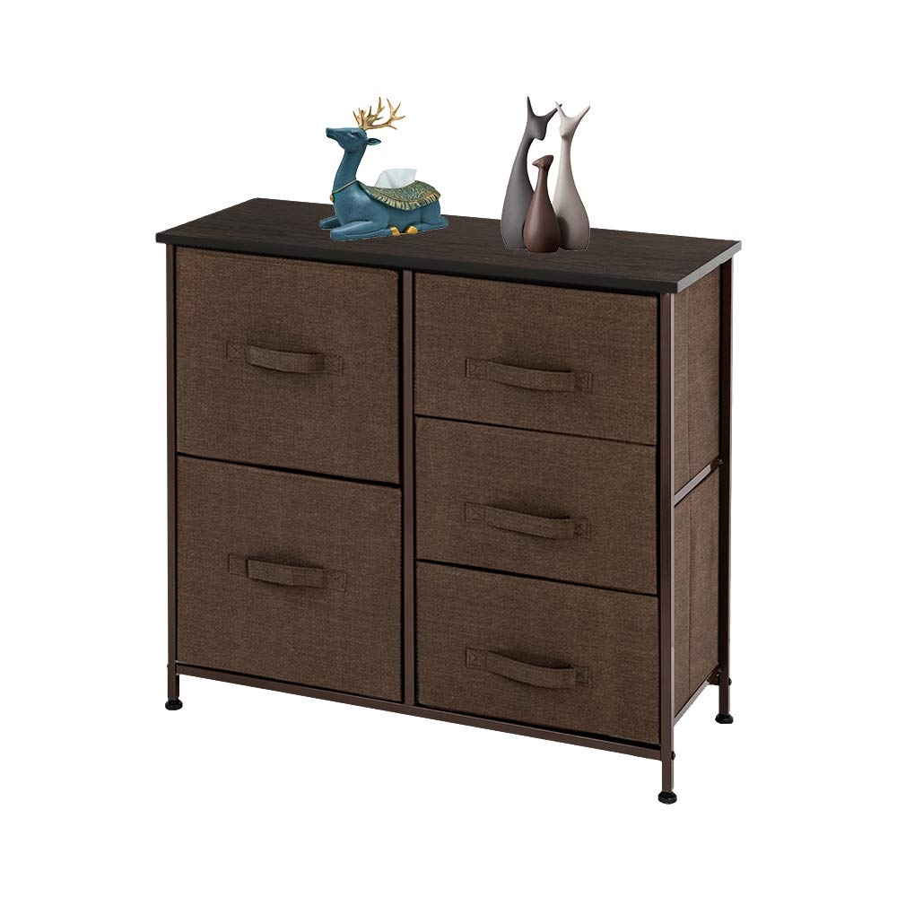 SSLine 3-Tier Wide Drawer Dresser Wood Tabletop 5 Drawers Chest Storage Tower w/Metal Frame Bedroom Closet Fabric Bins Organizer for Clothes Cosmetics Storing in Kids Room Nursery Dorm Apartment-Brown by SSLine