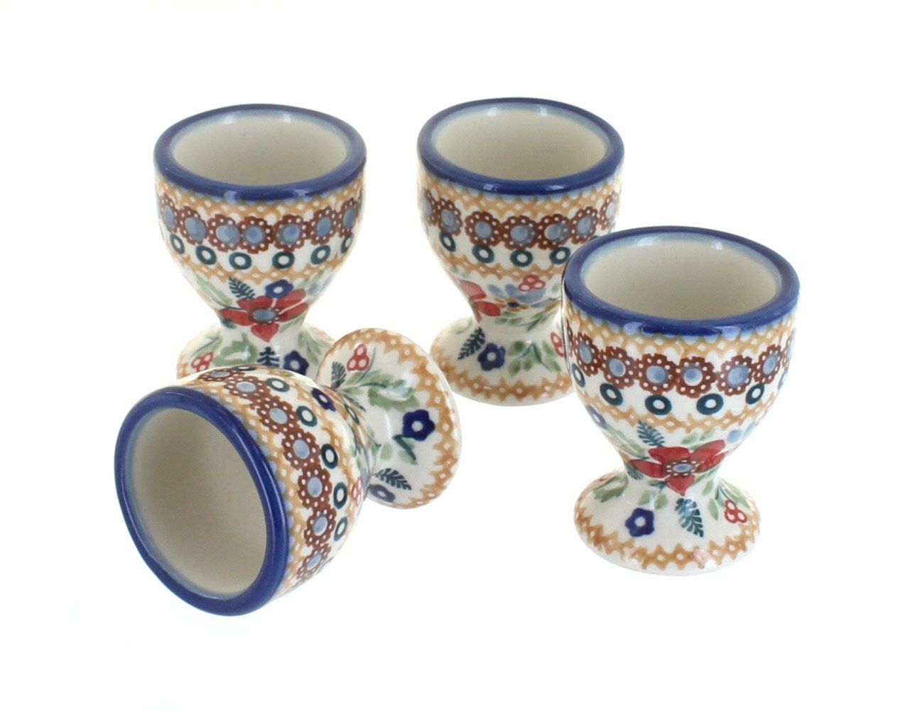 Blue Rose Polish Pottery Red Daisy Egg Cup Set
