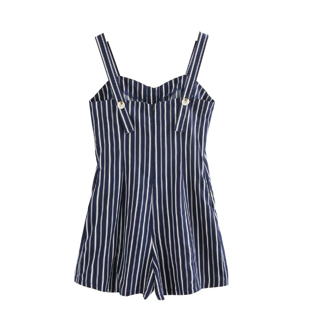 MuLuo Women Button Striped Mini Playsuit Pockets Rompers Jumpsuit Beach Bodysuit