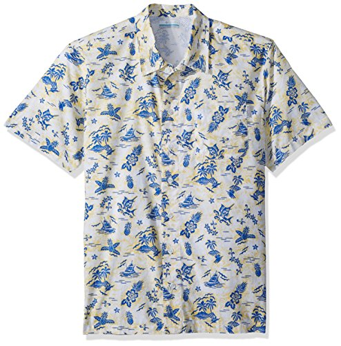 Columbia Men's Trollers Best Short Sleeve Shirt, Sunlit Fish Ahoy Print, XX-Large For Sale