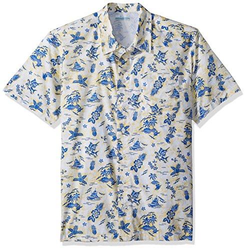 Columbia Mens Trollers Best Short Sleeve Shirt, Sunlit Fish Ahoy Print, X-Large