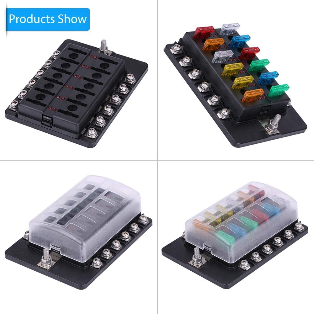 12 Way Blade Fuse Holder Fuse Box Standard ATO ATC Block Holder Kit for Auto Car Truck Boat Aramox Fuse Circuit Box