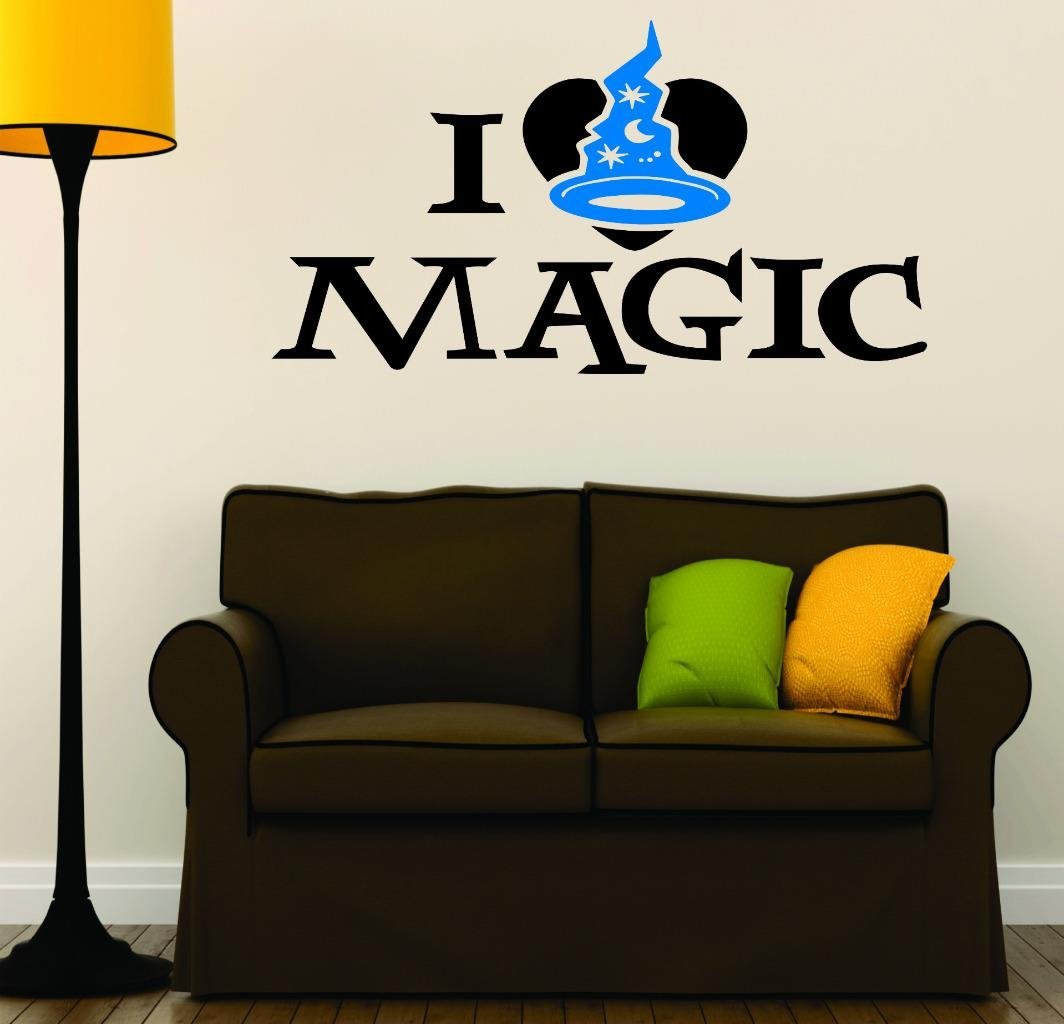 Design with Vinyl RAD V 381 1 I Love Magic Wizard Hat Halloween Holiday Seasonal Decoration Picture Art Sign Decal 12 x 24