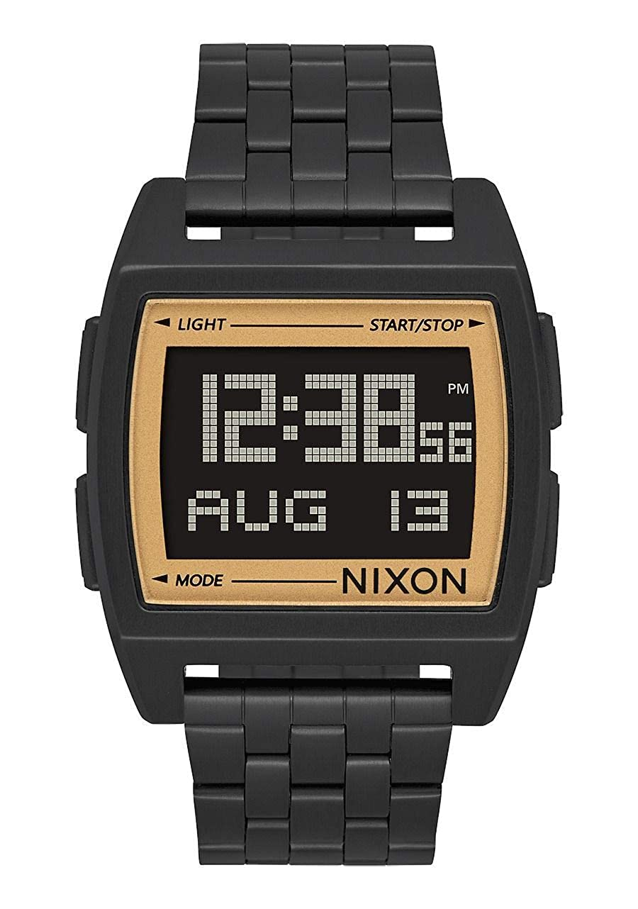 Amazon.com: Nixon Base All Black/Gold Mens Retro Style Smart Watch (38mm. Digital Face/All Black & Gold Stainless Steel Band): Watches