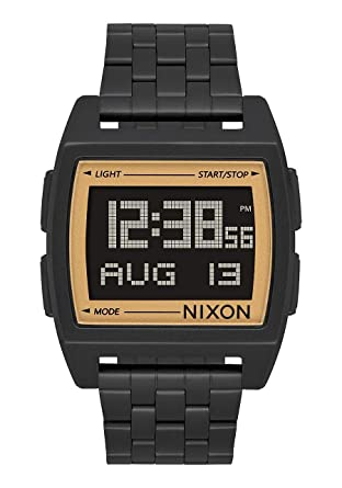 Nixon Base All Black/Gold Mens Retro Style Smart Watch (38mm. Digital Face