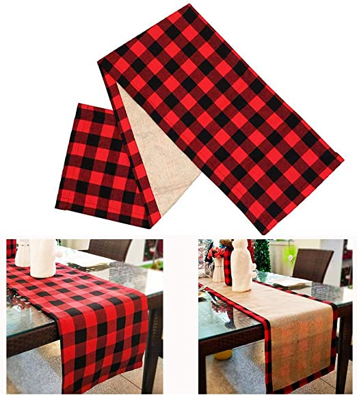 Table Runner Cotton Buffalo Check Indoor Outdoor Picnic Party Black Red 14x72