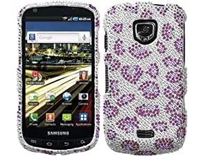 Silver Leopard Cheetah Purple Bling Rhinestone Faceplate Diamond Crystal Hard Skin Case Cover for Samsung Droid Charge SCH i510 i520 w/ Free Pouch