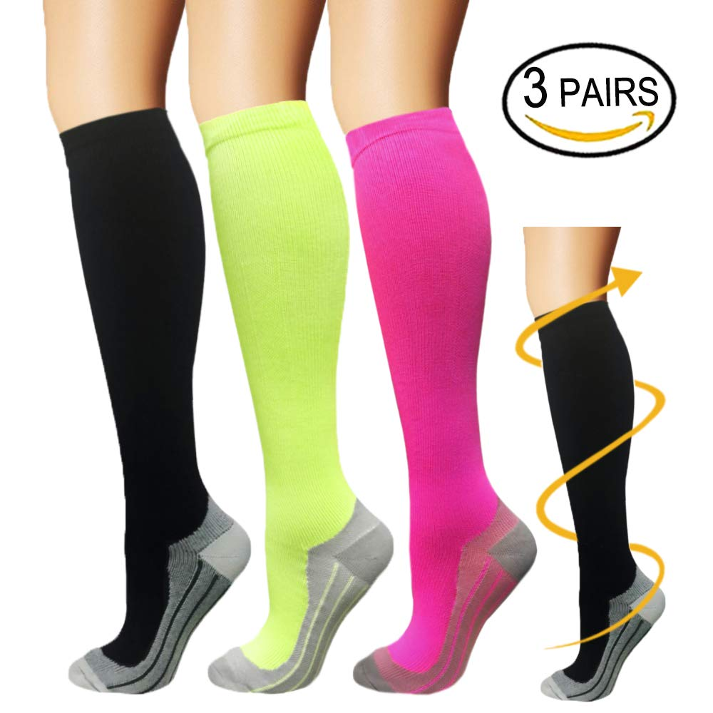 Copper Compression Socks For Men & Women(3 Pairs)-Boost Performance, Speed Up Recovery, Better Blood Circulation - For All Sports, Flight, Air Travel, Nurse, Medical Use (S/M, Multicoloured 3)