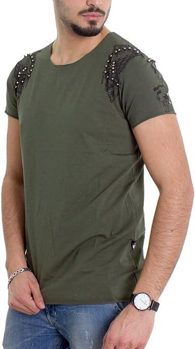 Giosal - Camiseta de Manga Corta para Hombre, diseño de Calavera Militar, Color Verde Verde Militar L: Amazon.es: Ropa y accesorios