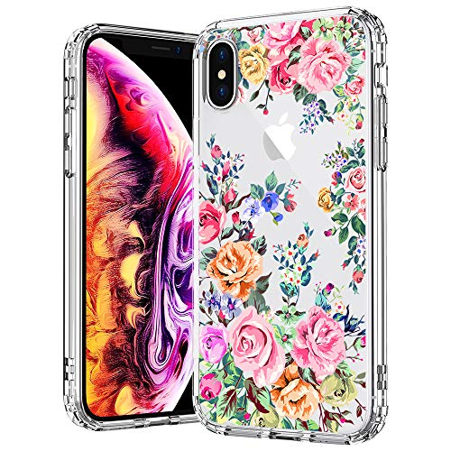 MOSNOVO Case for iPhone Xs/iPhone X, MOSNOVO Roses Garden Floral Printed Flower Pattern Clear Design Plastic Hard Case with TPU Bumper Protective Case Cover for iPhone X/iPhone Xs