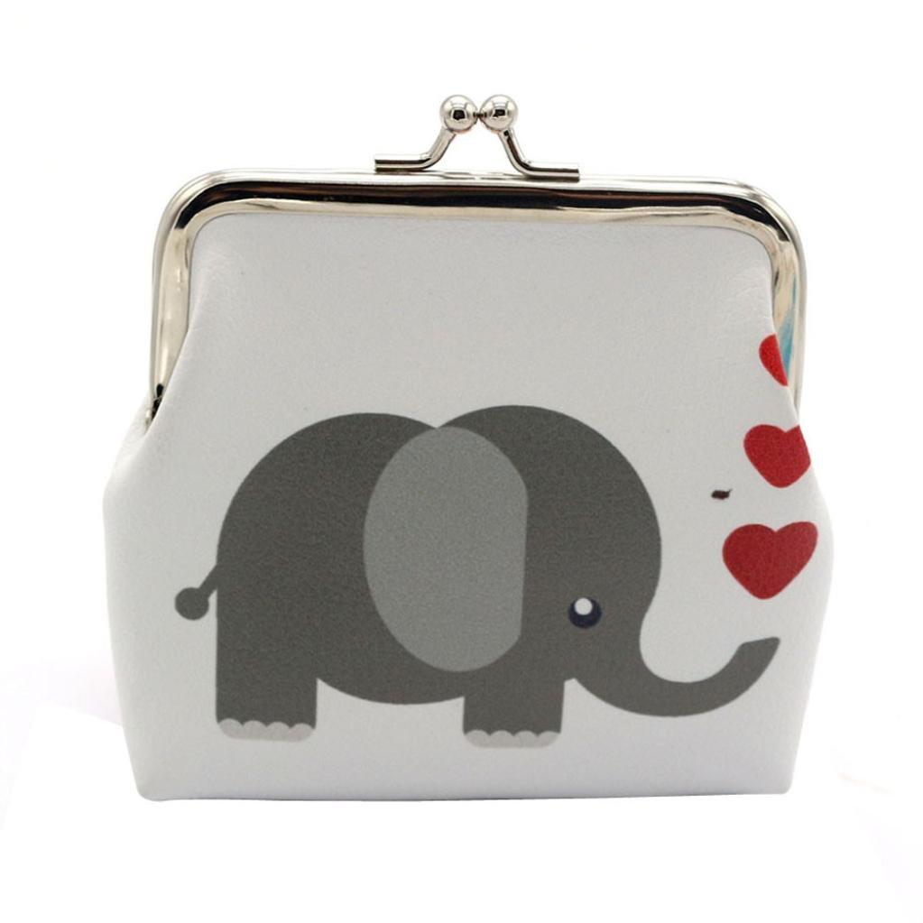 Womail Women Fashion Owl Elephant Mini Retro Vintage Leather Hasp Handbags Boy ID Credit Card Coin Holder Wallet (Gray)
