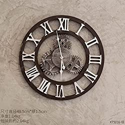 Y-Hui Industrial Style Wall Clock Restaurant And Bar Walls Wall Decoration Room Wall In The Living Room Walls, The Roman Numeral Wall Clock - Gold