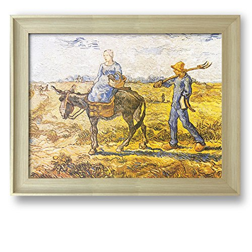 Peasant Couple Going to Work (After Millet) by Vincent Van Gogh Framed Art Print Famous Painting Wall Decor Natural Wood Finish Frame