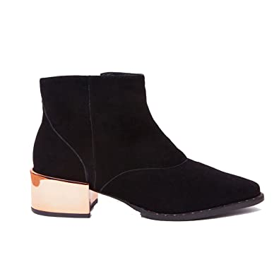 1350fd70ab36 Ivy Kirzhner Cirque2 Black Suede Metallic Pointed Low Riding Designer Ankle  Boot (6)