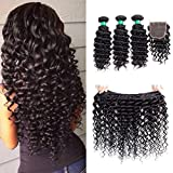 MQYQ 3 Bundles with Lace Closure Free Part Brazilian Virgin Hair Body Wave Hair Extensions Wavy Unprocessed Human Hair Weave Natural Color (10+10 12 14)