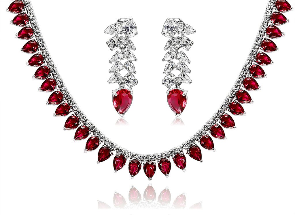 Epinki Silver Plated Jewelry Set, Wheat Drop Cubic Zirconia Red Wedding Necklace And Earrings Set