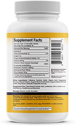 4Excelsior 500 mg Vitamin C, 200 mg Elderberry, 100 mg Echinacea 10 mg Zinc Chewable Tablets Super Immunity Support Double Immune Defense Promotes Healthy Stress Response – 90 Tablets