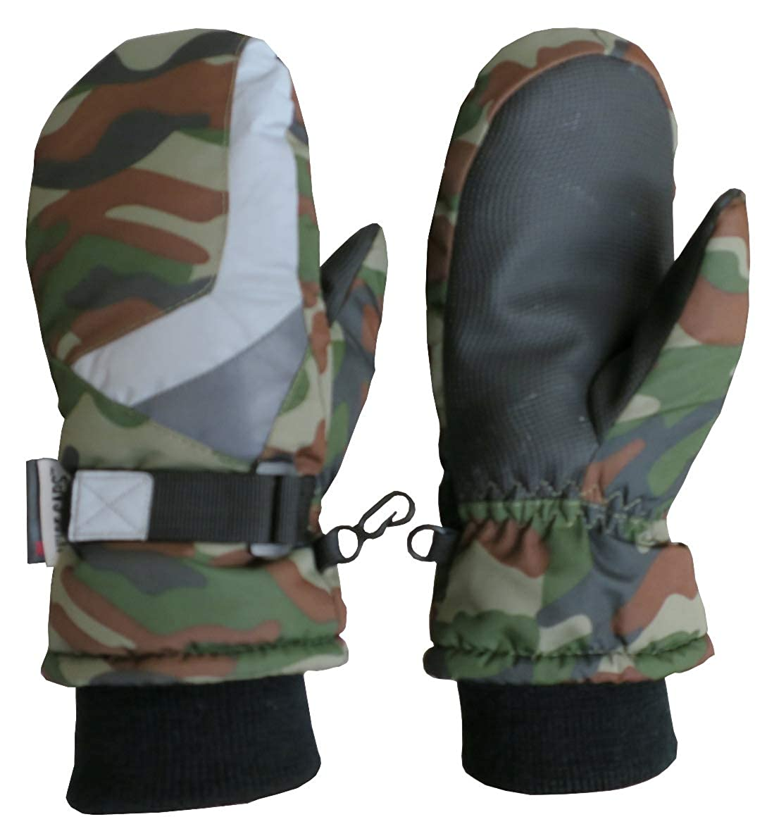 N'Ice Caps Kids Winter Waterproof Thinsulate Colorblock Reflector Snow Mittens Green Camo Reflector) 5154-GC-CLXL