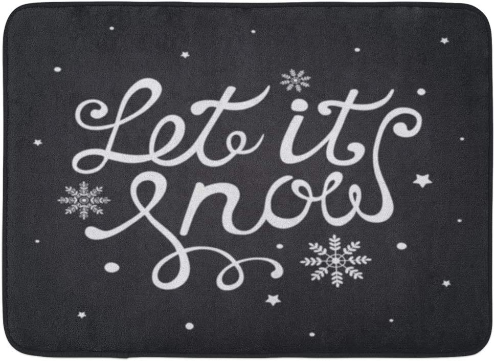 Amazon Com Emvency Doormats Bath Rugs Outdoor Indoor Door Mat Chalkboard Let It Snow Christmas Lettering Snowflakes Black And White Artistic Bathroom Decor Rug Bath Mat 16 X 24 Kitchen Dining