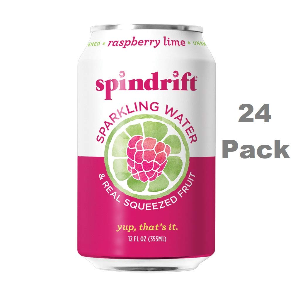 Spindrift Sparkling Water, Raspberry Lime Flavored, Made with Real Squeezed Fruit, 12 Fluid Ounce Cans, Pack of 24 (Only 9 Calories per Seltzer Water Can)