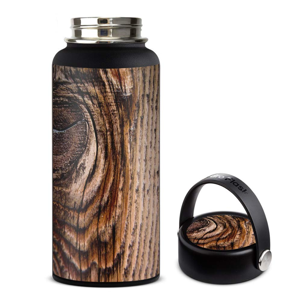 Skin Decal Vinyl Wrap for Hydro Flask 32oz Wide Mouth Skins Stickers Cover/Wood Panel Mahogany Knot Solid
