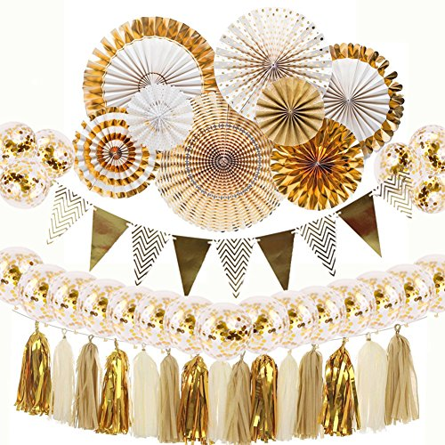 Gold Party Decorations 8 Pcs Paper Fan Flowers 20 Pcs Confetti balloons Pennant Banner 15 pcs Tissue Paper Tassels Garland Birthday Party Supplies for Wedding Baby Shower Outdoor Wall Decorations