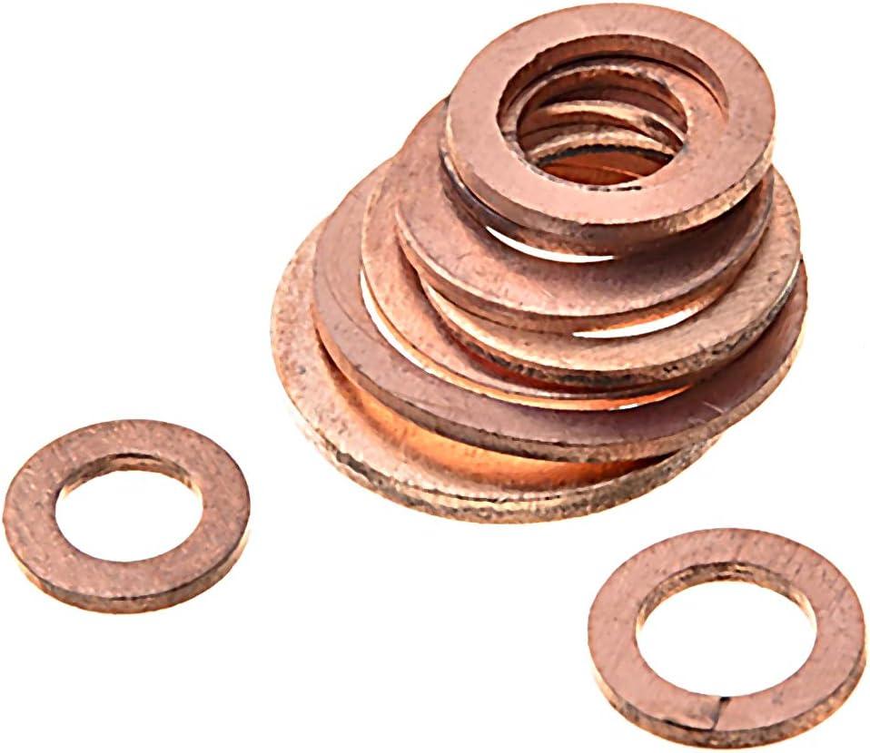 Ldawy Arandelas de Cobre 200 piezas M5-M14 Arandelas de cobre 9 Tama/ños Junta t/órica Anillo de sellado plano Kit de accesorios de fijaci/ón de hardware con caja de pl/ástico para equipos de maquinaria