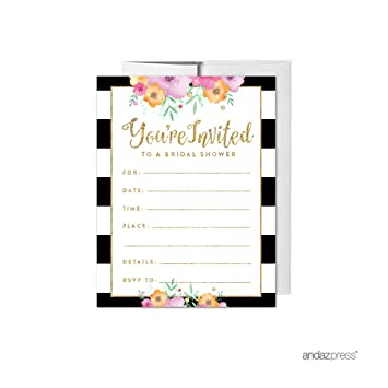 Andaz Press Floral Gold Glitter Print Wedding Collection Blank Bridal Shower Invitations With Envelopes
