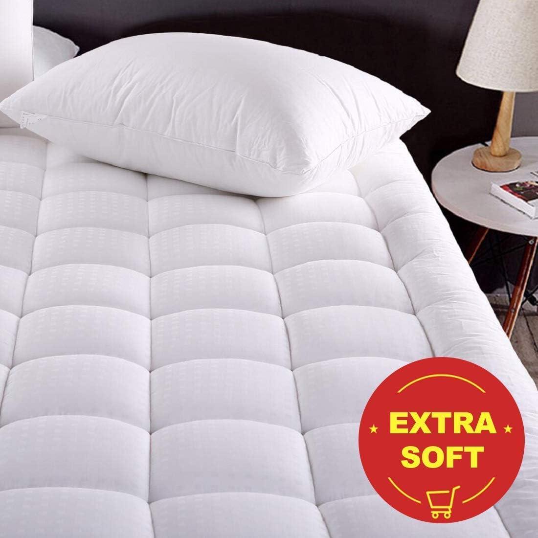 Pillow Top Quilted Mattress Topper,Fitted 8-21 Inch Deep Pocket Mattress Pad Cover MEROUS Queen Size Cotton Mattress Pad