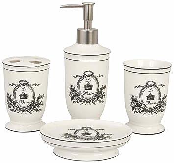 Ensemble 4 accessoires salle de bain romantique chic Clayre & Eef ...