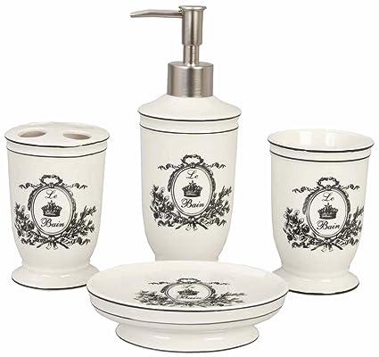 Ensemble 4 accessoires salle de bain romantique chic Clayre ...