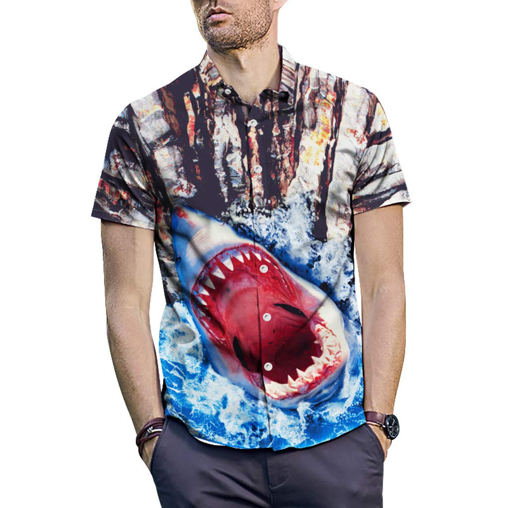 Mitiy Men Short-Sleeve Shark Printed Button Down Casual Relaxed Fit Shirt Funky Hawaiian Shirt