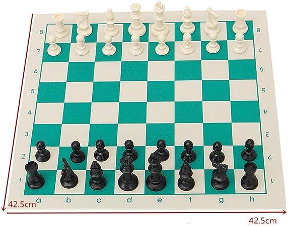 InChengGouFouX Chess Set Juego de ajedrez Juego de ajedrez Piezas de plástico Verde Rollo de Juegos portátil Familia para Adultos y niños (Color : Verde, Size : One Size): Amazon.es: Hogar