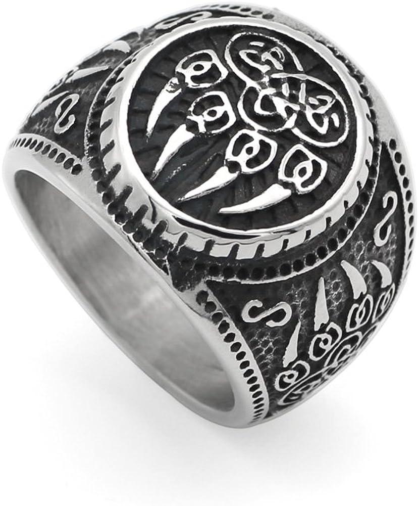 GuoSuang Men 316L Stainless Steel Norse Viking Wolf paw Vantage Ring jewlery with Valknut Gift Bag